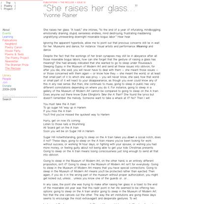 """Issue 10 > """"She raises her glass…"""", Yvonne Rainer"""