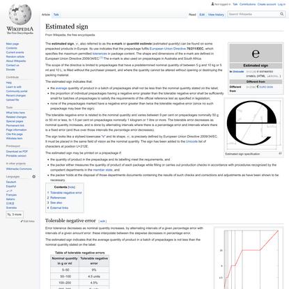 Estimated sign - Wikipedia
