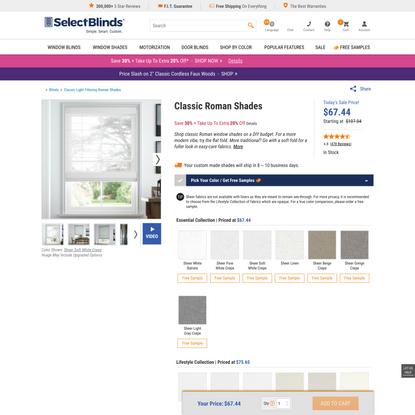 Classic Roman Window Shades | SelectBlinds.com