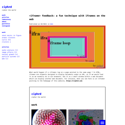 <iframe> feedback: a fun technique with iframes on the web – ciphrd
