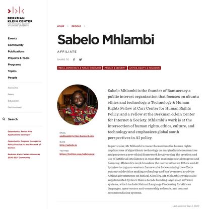 Sabelo Mhlambi