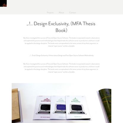 Dina Michl - ,.!.. Design Exclusivity, (MFA Thesis Book)