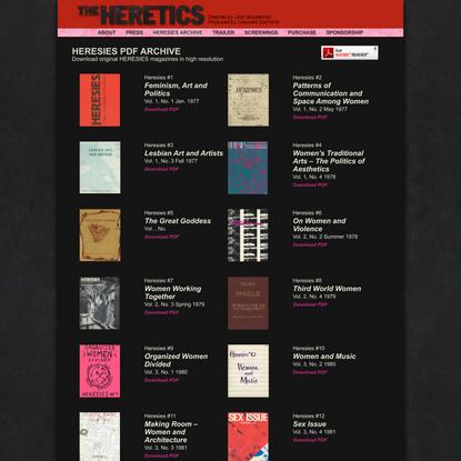 Heresies PDF Archive : THE HERETICS