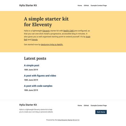 A simple starter kit for Eleventy - Hylia Starter Kit