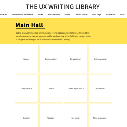 UX Writing Resource Library - Home