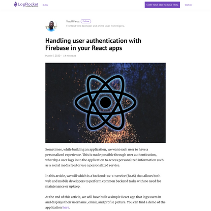 Handling user authentication with Firebase in your React apps - LogRocket Blog