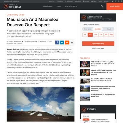 Maunakea And Maunaloa Deserve Our Respect