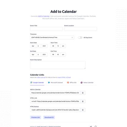 """Add to Calendar"" Links for Google Calendar, Outlook, ICS"