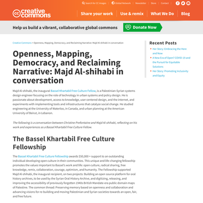 Openness, Mapping, Democracy, and Reclaiming Narrative: Majd Al-shihabi in conversation - Creative Commons