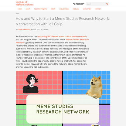 How and Why to Start a Meme Studies Research Network: A conversation with Idil Galip