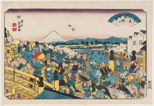 Clearing Weather at Nihonbashi (Nihonbashi no seiran), from the series Eight Views of Edo (Edo hakkei)