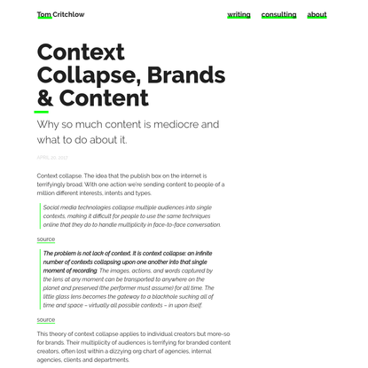 Context Collapse, Brands & Content
