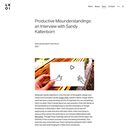 Productive Misunderstandings: an Interview with Sandy Kaltenborn — LOKI