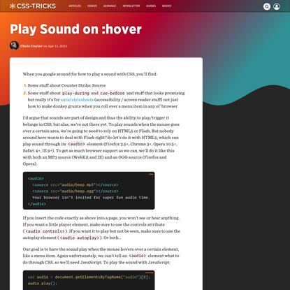 Play Sound on :hover   CSS-Tricks