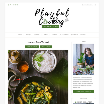 Kumro Pata Torkari - Pumpkin Stems and Leaves Curry - Playful Cooking