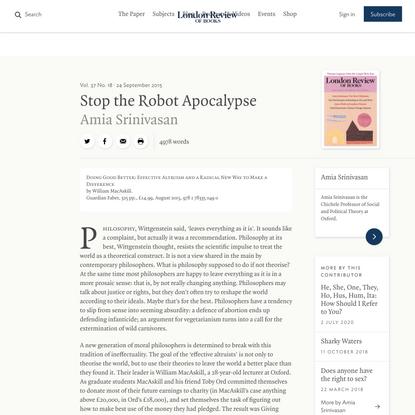 Amia Srinivasan · Stop the Robot Apocalypse: The New Utilitarians · LRB 23 September 2015
