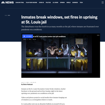 Inmates break windows, set fires in uprising at St. Louis jail