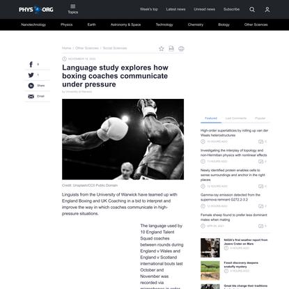 Language study explores how boxing coaches communicate under pressure