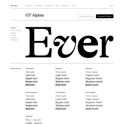 GT Alpina – Typeface Specimen and License Purchase
