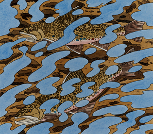 Neil Welliver (American, 1929-2005), Two Trout in Reflections #27/60, 1994. Hand colored etching.