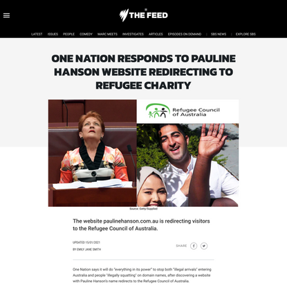 One Nation responds to Pauline Hanson website redirecting to refugee charity