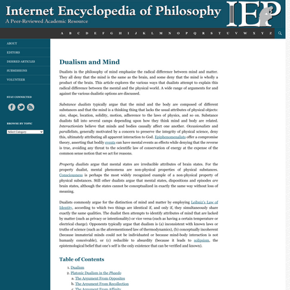 Dualism and Mind | Internet Encyclopedia of Philosophy