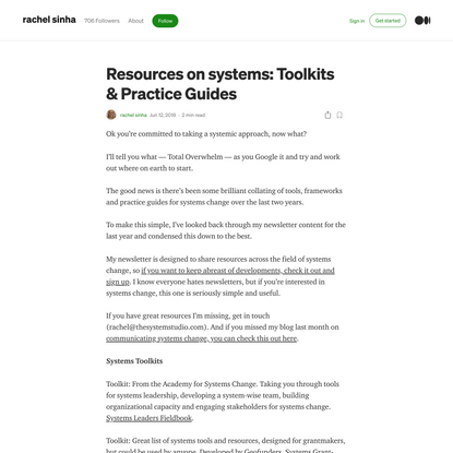 Resources on systems: Toolkits & Practice Guides