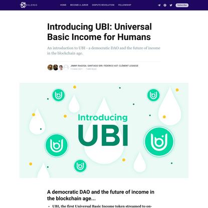 Introducing UBI: Universal Basic Income for Humans