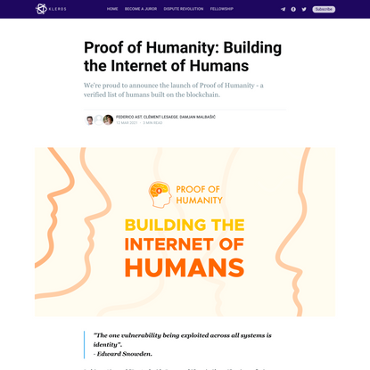 Proof of Humanity: Building the Internet of Humans