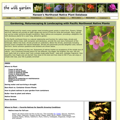 The Wild Garden: Hansen's Northwest Native Plant Database