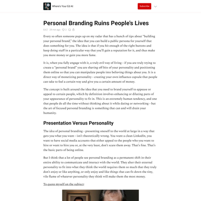 Personal Branding Ruins People's Lives