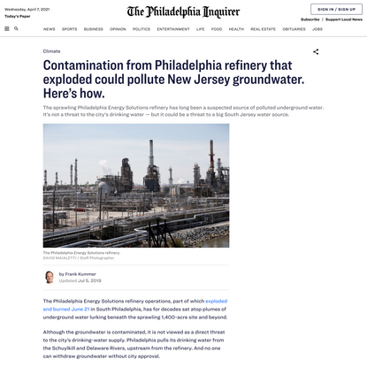 Contamination from Philadelphia refinery that exploded could pollute New Jersey groundwater. Here's how.
