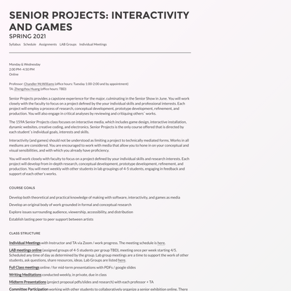 Senior Projects: Interactivity And Games