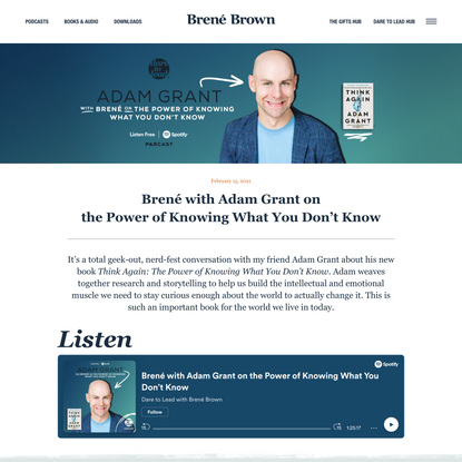 Brené with Adam Grant on the Power of Knowing What You Don't Know | Brené Brown