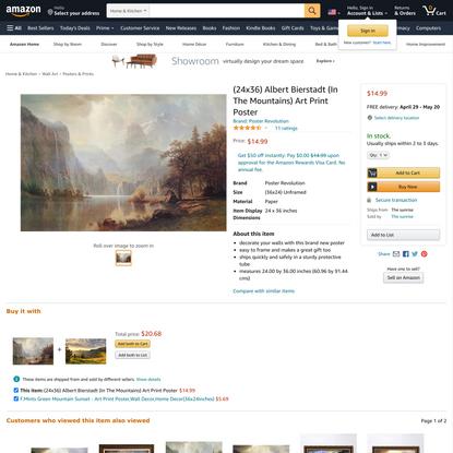 (24x36) Albert Bierstadt (In The Mountains) Art Print Poster