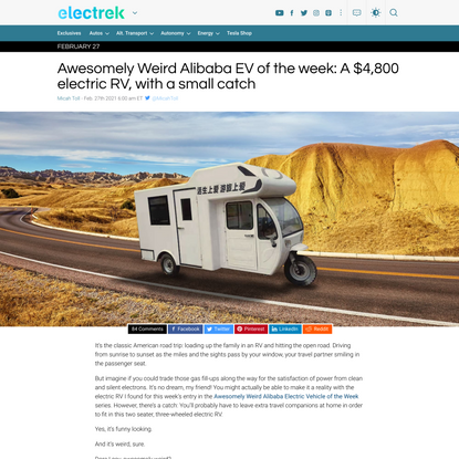 Awesomely Weird Alibaba Electric Vehicle of the Week: $4,800 electric RV
