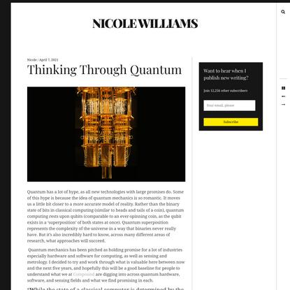 Thinking Through Quantum Computing & VC Implications » Nicole Williams