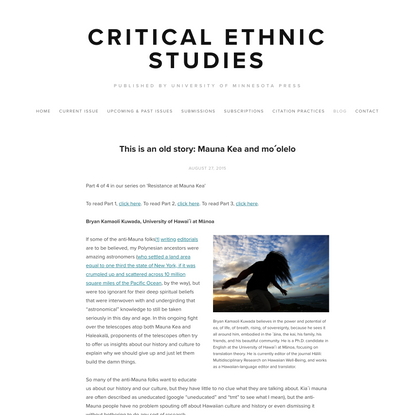 This is an old story: Mauna Kea and moʻolelo — Critical Ethnic Studies