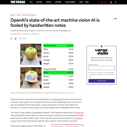OpenAI's state-of-the-art machine vision AI is fooled by handwritten notes