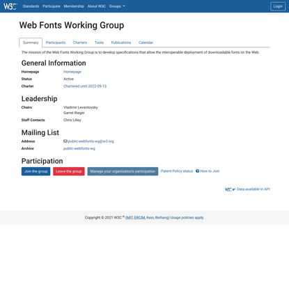 Web Fonts Working Group