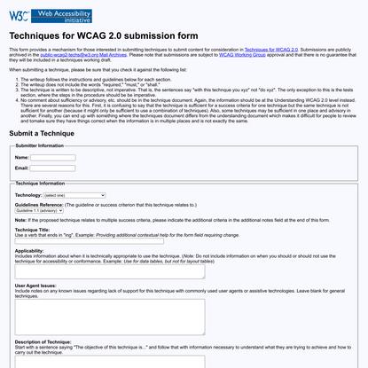 Techniques XML Submission Form