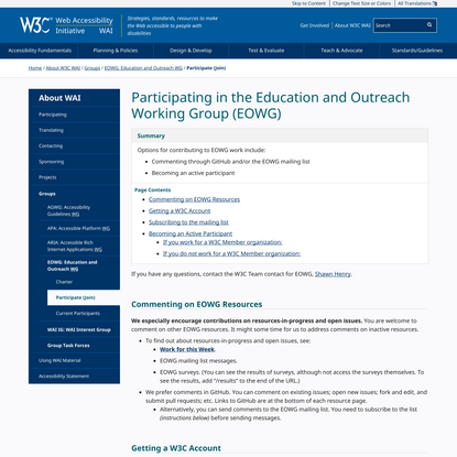 Participating in the Education and Outreach Working Group (EOWG)