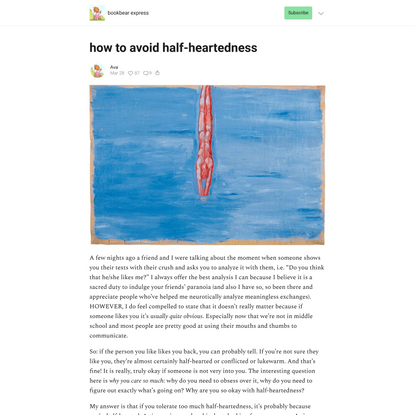 how to avoid half-heartedness