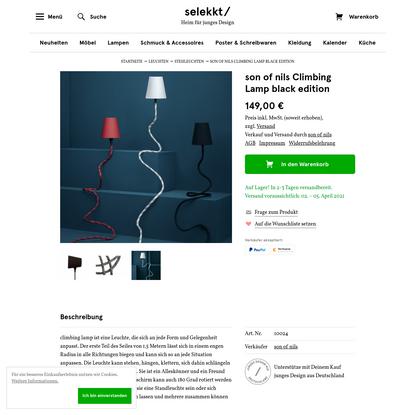 son of nils Climbing Lamp black edition   selekkt - Heim für junges Design