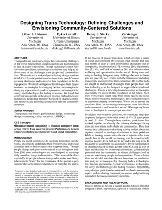 Designing Trans Technology: Defining Challenges and Envisioning Community-Centered Solutions