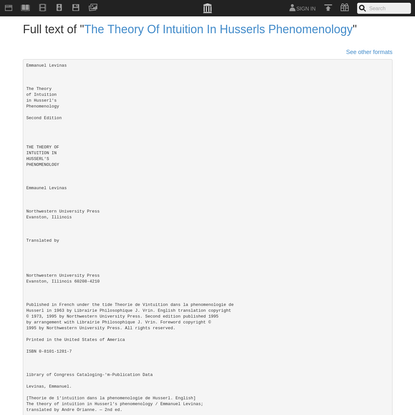 """Full text of """"The Theory Of Intuition In Husserls Phenomenology"""""""