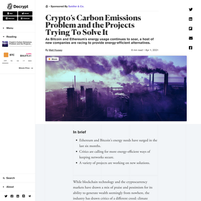 Crypto's Carbon Emissions Problem and the Projects Trying To Solve It - Decrypt