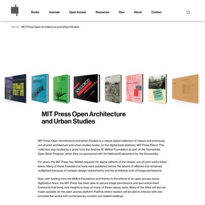 MIT Press Open Architecture and Urban Studies   The MIT Press