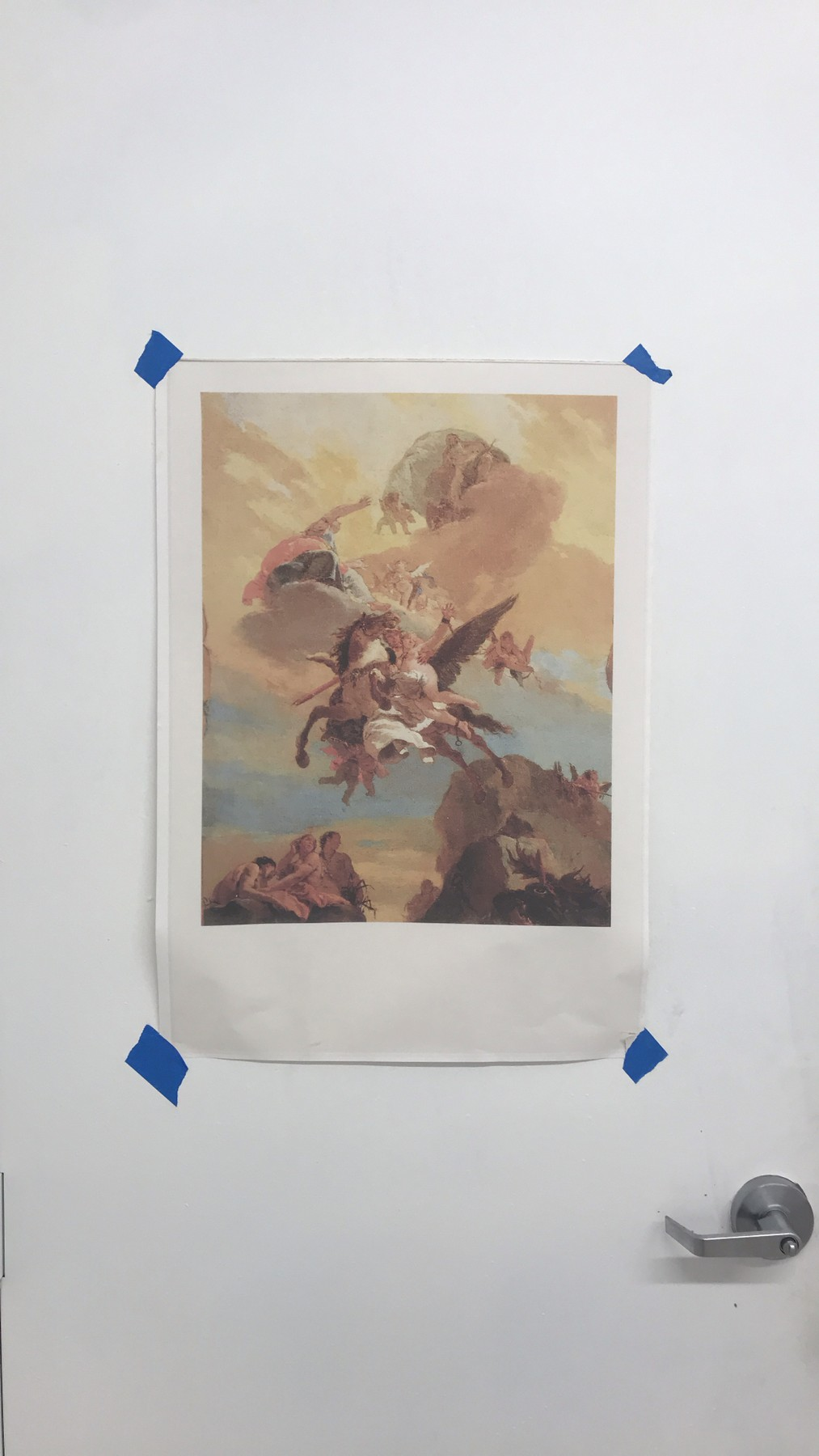 Tiepolo Postcard from The Frick, Printed out and on the door of my studio in 2020