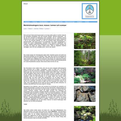 Skogen lavar, mossor & svampar, Kulturarv Marieholm